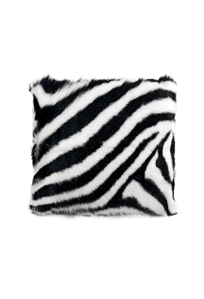 Goat Fur Cushion - Zebra