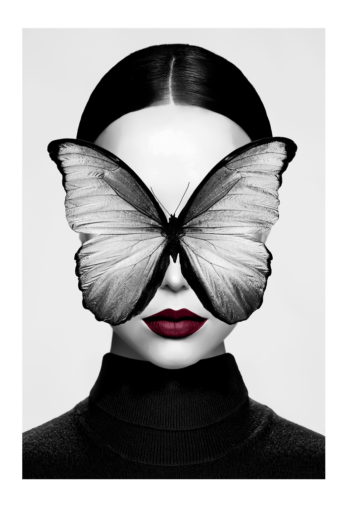 Black And White Butterly Face Portrait Eyes Red Lips Fashion Wine Colour Wine Dark Red Print Wall Print Framed Art Poster
