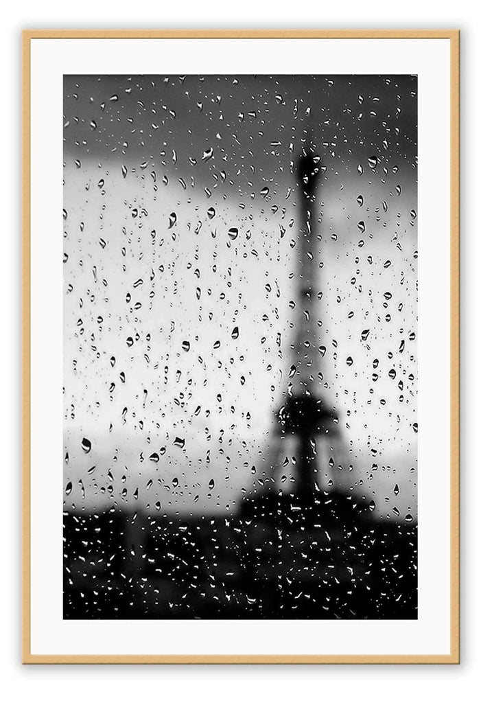 Eiffel Tower Paris France Balck And White Rain Rainy Window Print Wall Print Framed Art Poster Image Online Photo Painting