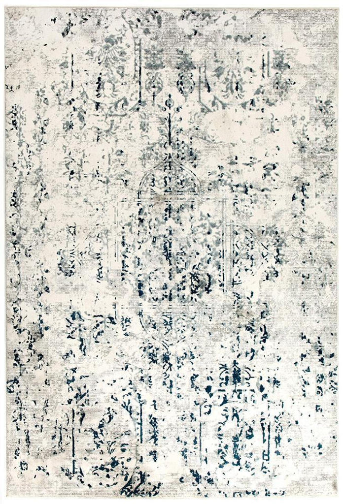Keisha Farah Distressed Rug White Blue Grey