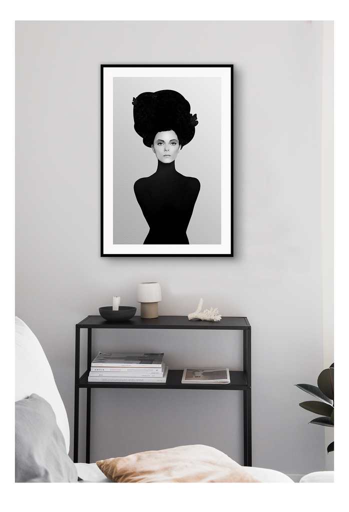 Woman Black And White Turban African Portait Fashion Simple Print Wall Print Framed Art Poster Image Online Photo Painting