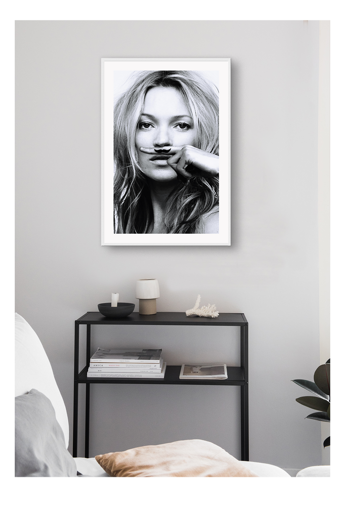 Black And White Fashion Photography  English Model Kate Moss Fashion Model Businesswoman Life Is A Joke Print Wall Print