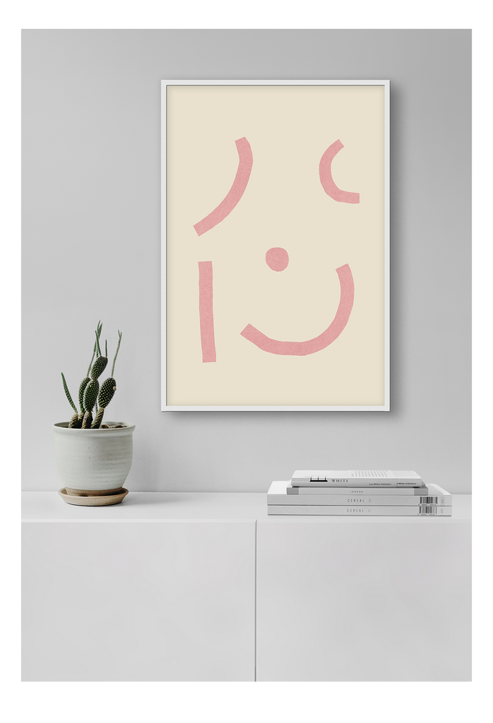 Abstract Pink Face Yellow Background Print Wall Print Framed Art Poster Image Online Photo Painting Living Lounge Bedroom