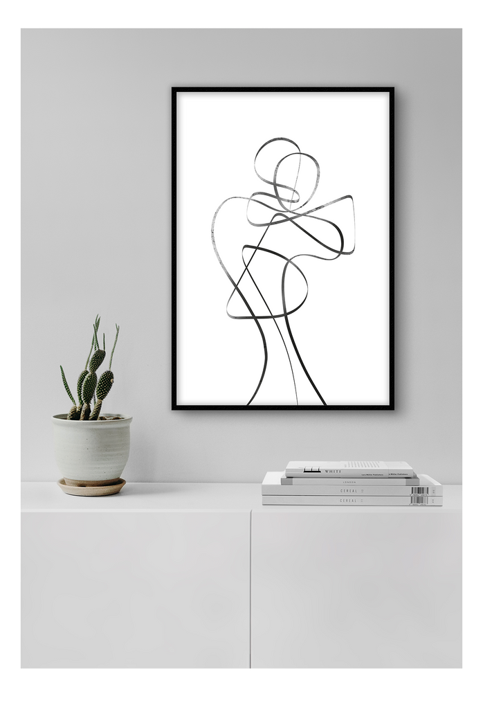 Abstract Sketch Black And White Man Simple Minimalistic Print Wall Print Framed Art Poster Image Online Photo Painting Living