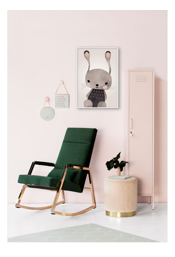 Nursery  Bunny Wall Art Framed Print for Kids