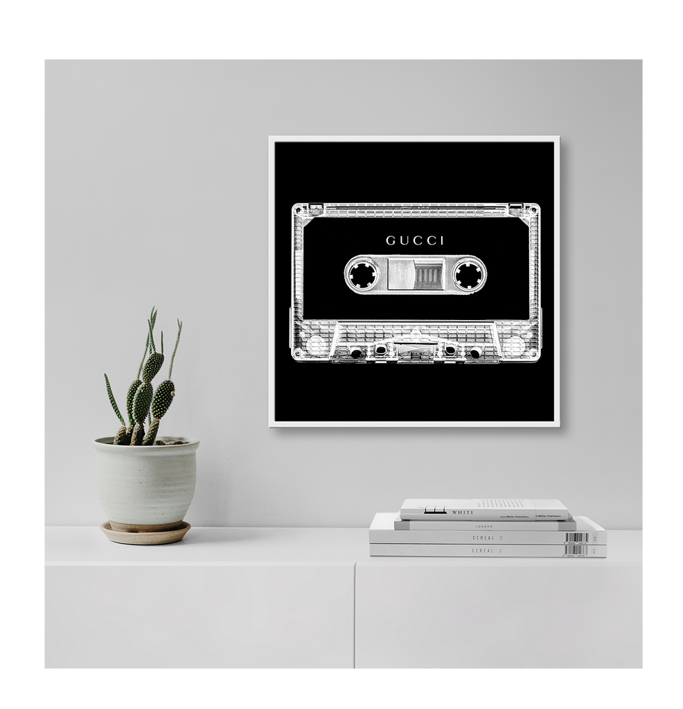 Gucci Cassette Black And White Stereo Gucci Fashion Label Inverted Colour Print Wall Print Framed Art Poster Image Online