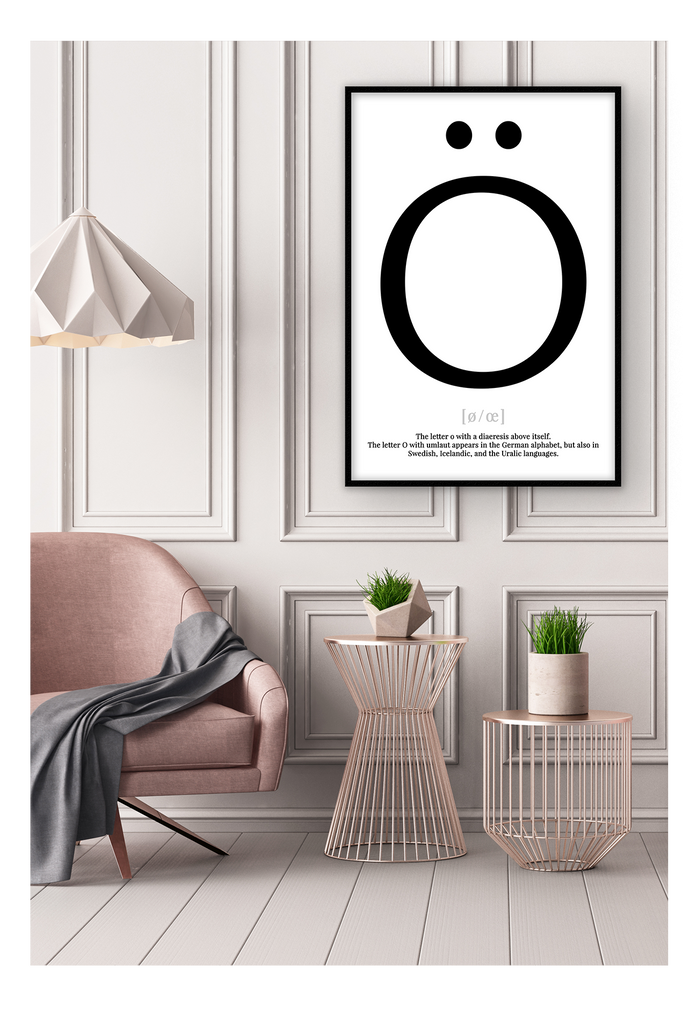 Letter O Typography Letters Simple Helvetica Scandi Print Wall Print Framed Art Poster Image Online Photo Painting Living