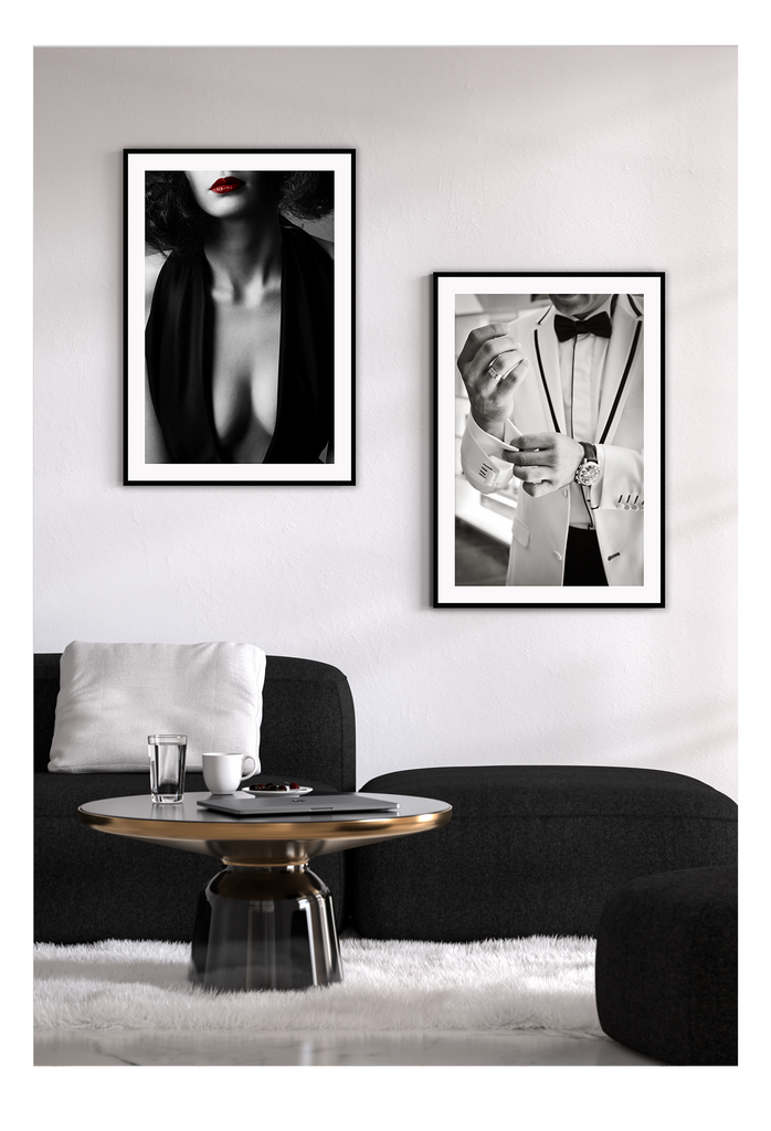Roger Moore 007 framed print black and white man suite watch framed art print wall canvas home interiors