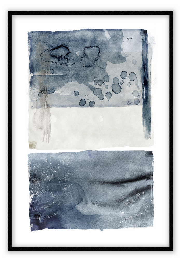 Water color blue abstract | Framed Art  PRINT