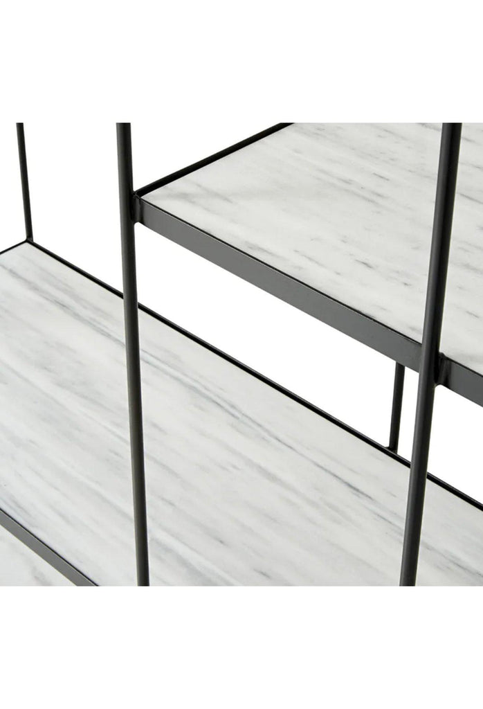 Sabina Bookcase - White Marble and Black