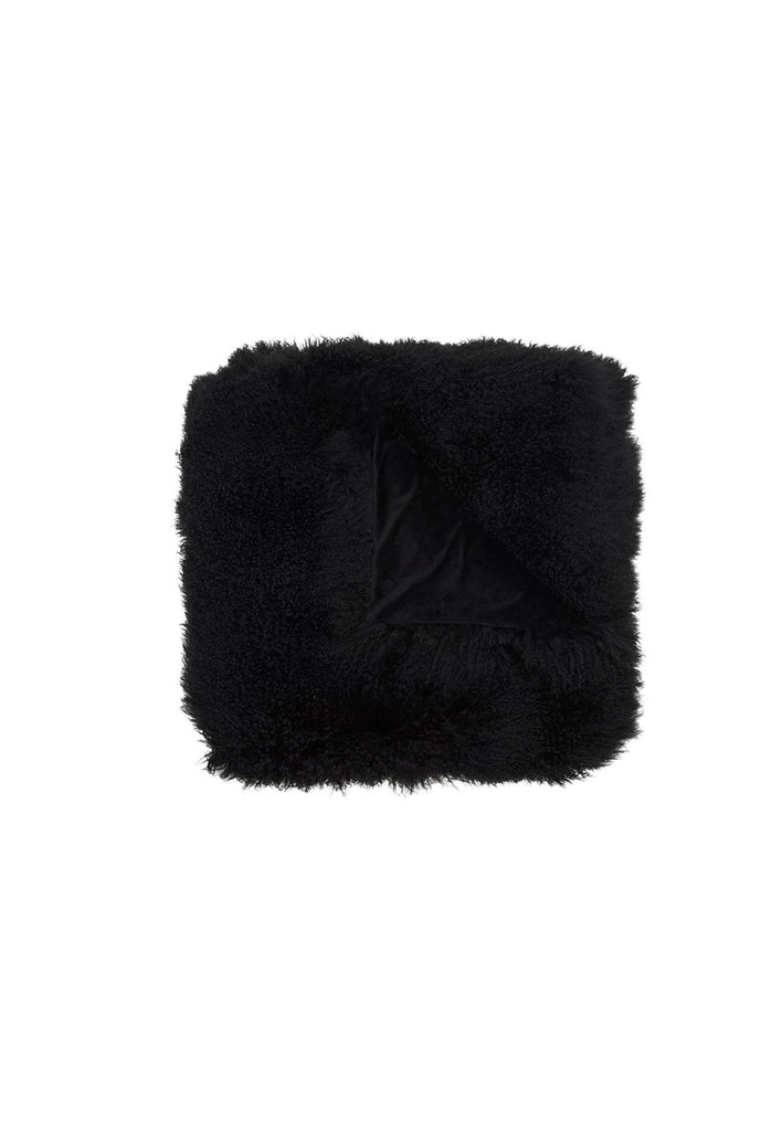 Sheepskin Throw Blanket Black