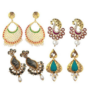 14Fashion Set Of 4 Earrings Combo