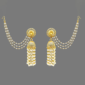 Kriaa Gold Plated Stone Chandbali Kan Chain Earrings