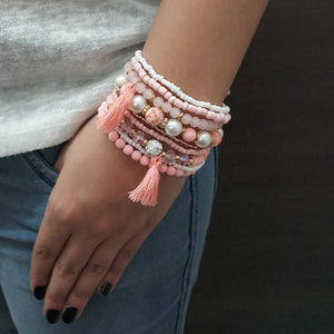 14Fashion Pink Beads Multi Layered Bracelet