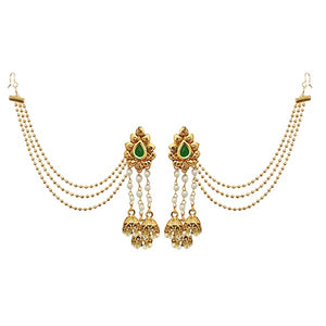 14Fashions Green Stone Gold Plated Kan Chain Earrings
