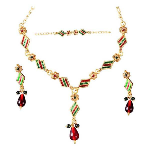 The99Jewel Green Meenakari Austrian Stone Necklace Set - 1100808
