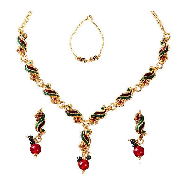 Kriaa Red Meenakari Stone Floral Design Necklace Set