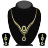 Kriaa Green Stone Drop Gold Plated Necklace Set