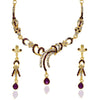 The99Jewel Purple Austrian Stone Gold Plated Necklace Set - 1103932