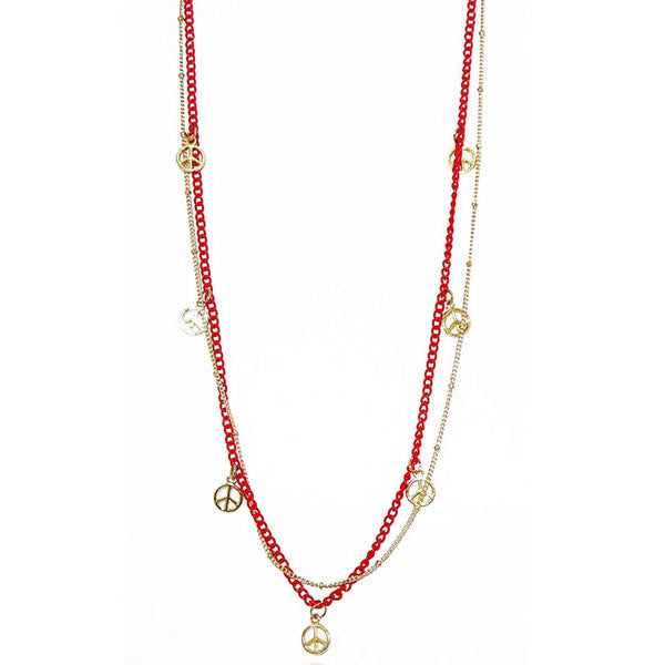 Urthn Gold Plated Red Double Chain Fusion Necklace