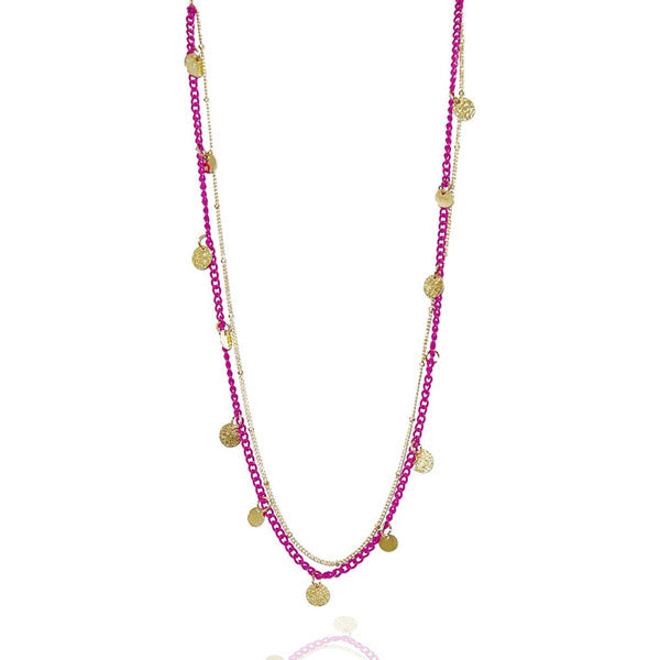 Urthn Gold Plated Pink Double Chain Fusion Necklace