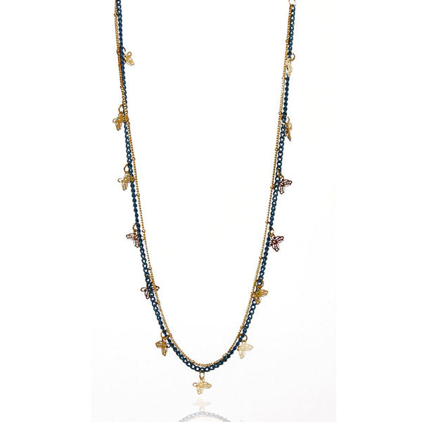 Urthn Blue Gold Plated Double Chain Fusion Necklace