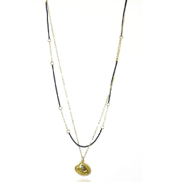 Urthn Black Gold Plated Double Chain Fusion Necklace