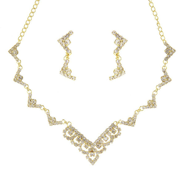 Eugenia Zinc Alloy Gold Plated Austrian Stone Necklace Set