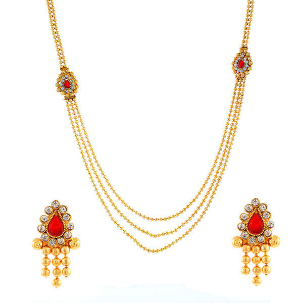 4fcec76bd0e6d Utkrishtt Red Austrian Stone Gold Plated Traditional Necklace Set