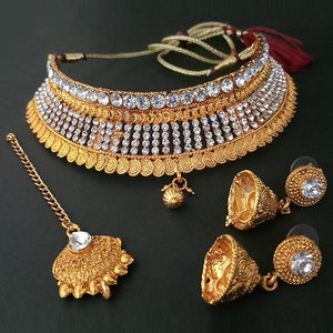 Kriaa Antique Gold Plated Choker Necklace Set With Maang Tikka
