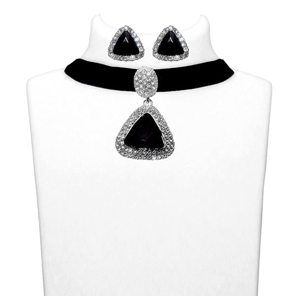 Jeweljunk Black Stone Silver Plated Choker Necklace Set