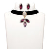 Jeweljunk Purple Stone Gold Plated Choker Necklace Set