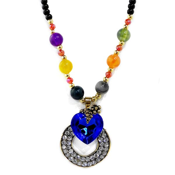 Urthn Gold Plated Multicolor Beads And Blue Stone Necklace