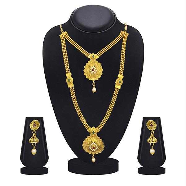 Kriaa Gold Plated Maroon Green Stone Double layer Necklace Set - 1109879