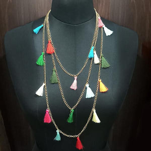 Jeweljunk Gold Plated Multicolour Thread Layer Necklace
