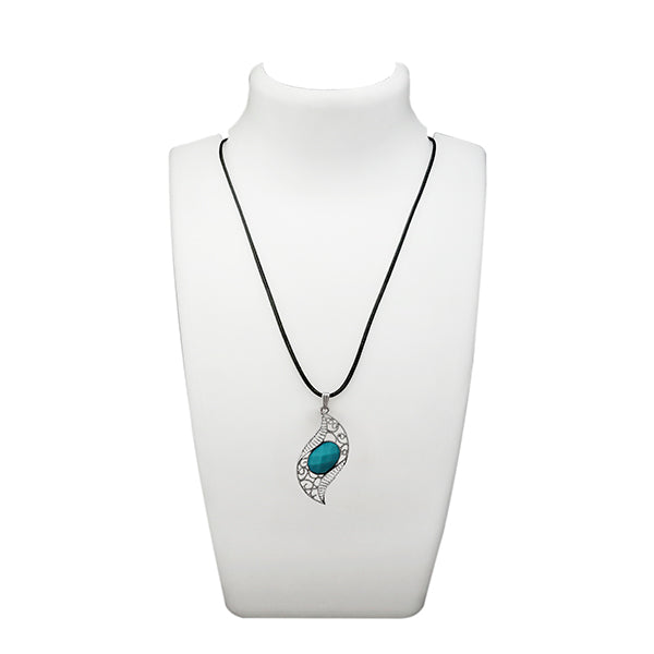 Urthn Blue Turquoise Stone Silver Plated Pendant
