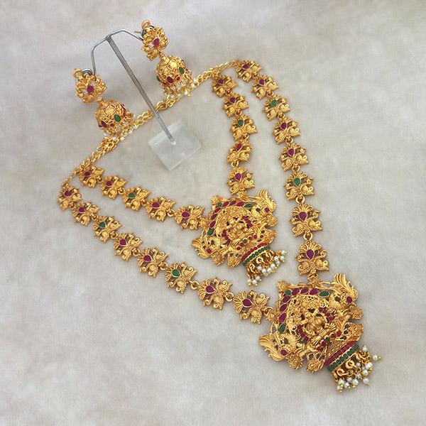 Kriaa Maroon Stone Double Gold Plated Necklace Set - 1113709