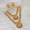 Kriaa Maroon Stone Double Gold Plated Necklace Set - 1113711