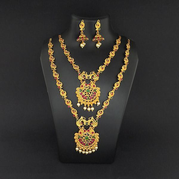 Kriaa Maroon Stone Double Gold Plated Necklace Set - 1113720