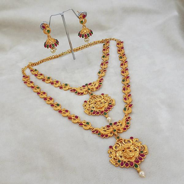 Kriaa Maroon Stone Double Gold Plated Necklace Set - 1113721
