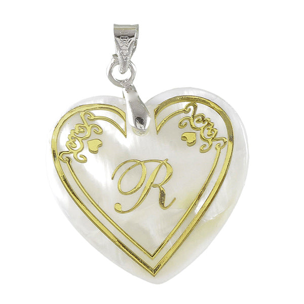 "Regina Alphabet ''R"" Heart Shaped Shell Pendant"