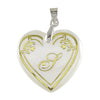 "Regina Alphabet ''S"" Heart Shaped Shell Pendant"