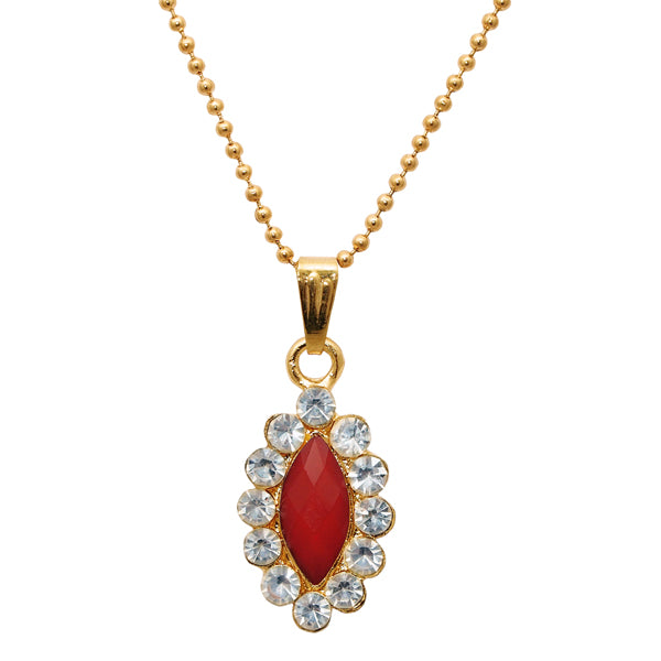 Regina Red Austrian Stone Gold Plated Chain Pendant