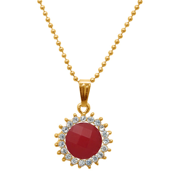 Regina Gold Plated Red Austrian Stone Chain Pendant