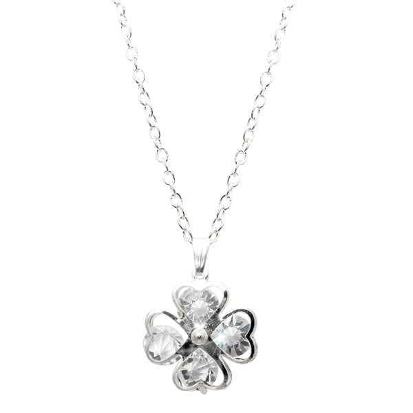 Urthn White Glass Stone Floral Shaped Chain Pendant