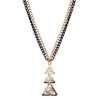 Urthn Glass Stone Triangle Design Double Chain Pendant