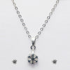 Urthn Rhodium Plated White  Stone Pendant Set