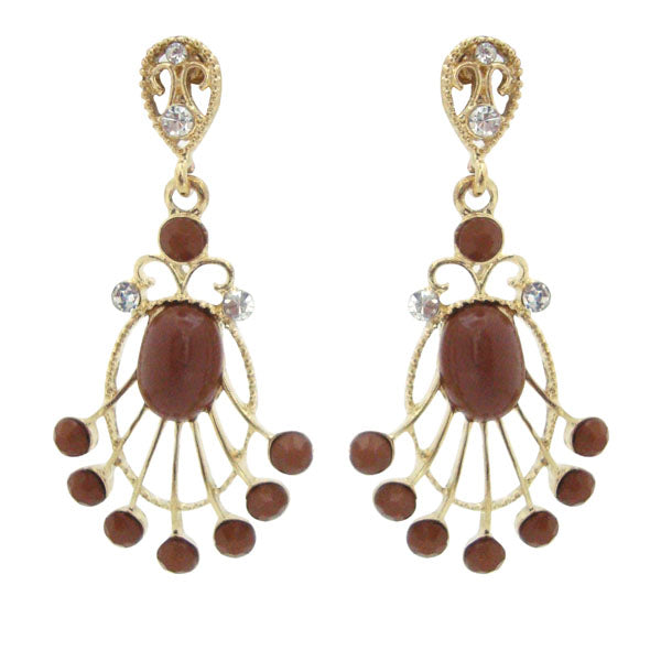 Kriaa Stone Maroon Beads Gold Plated Dangler Earrings