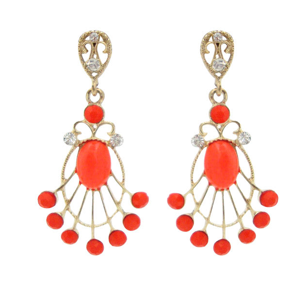 Kriaa Stone Orange Beads Gold Plated Dangler earrings