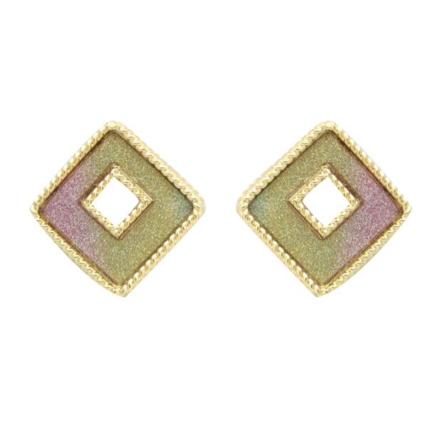 The99Jewel Multicolor Gold Plated Stud Earrings